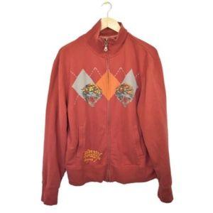 Ed Hardy Mens Red Tiger Sweatshirt Jacket XL